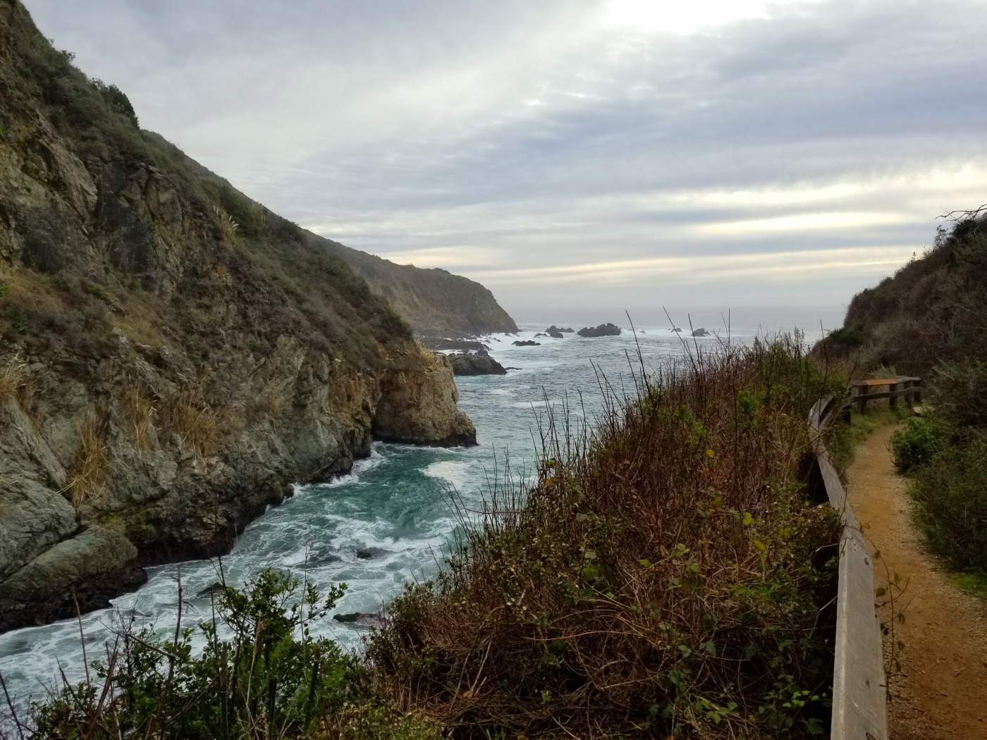 View of Partington Cove from a cliffside trail on a cloudy day. Ocean waves are turbulent in the cove.