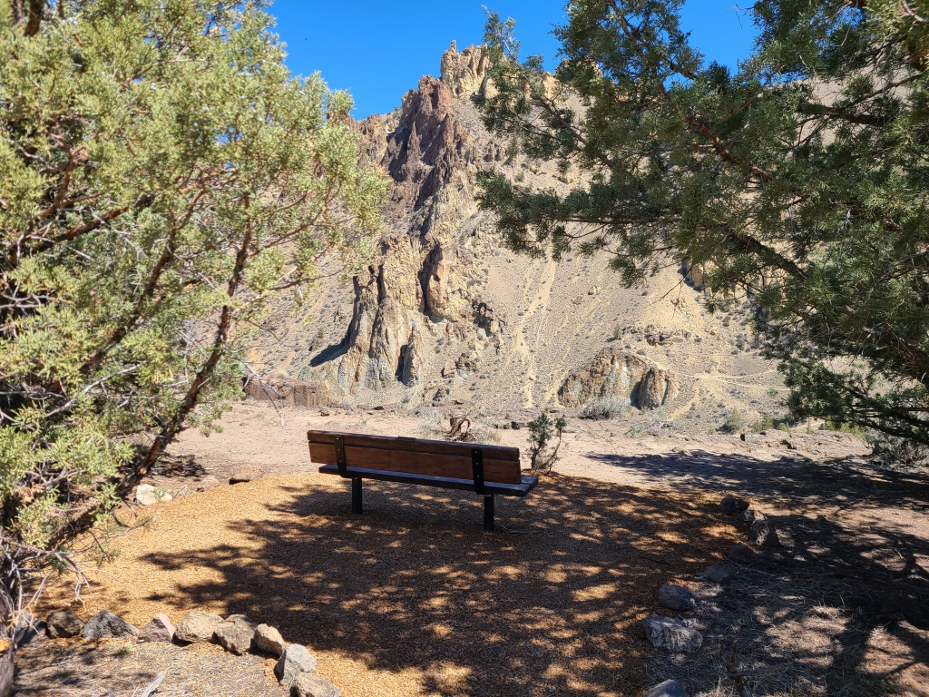 Bench on the North Point Trail overlooking the cliffs