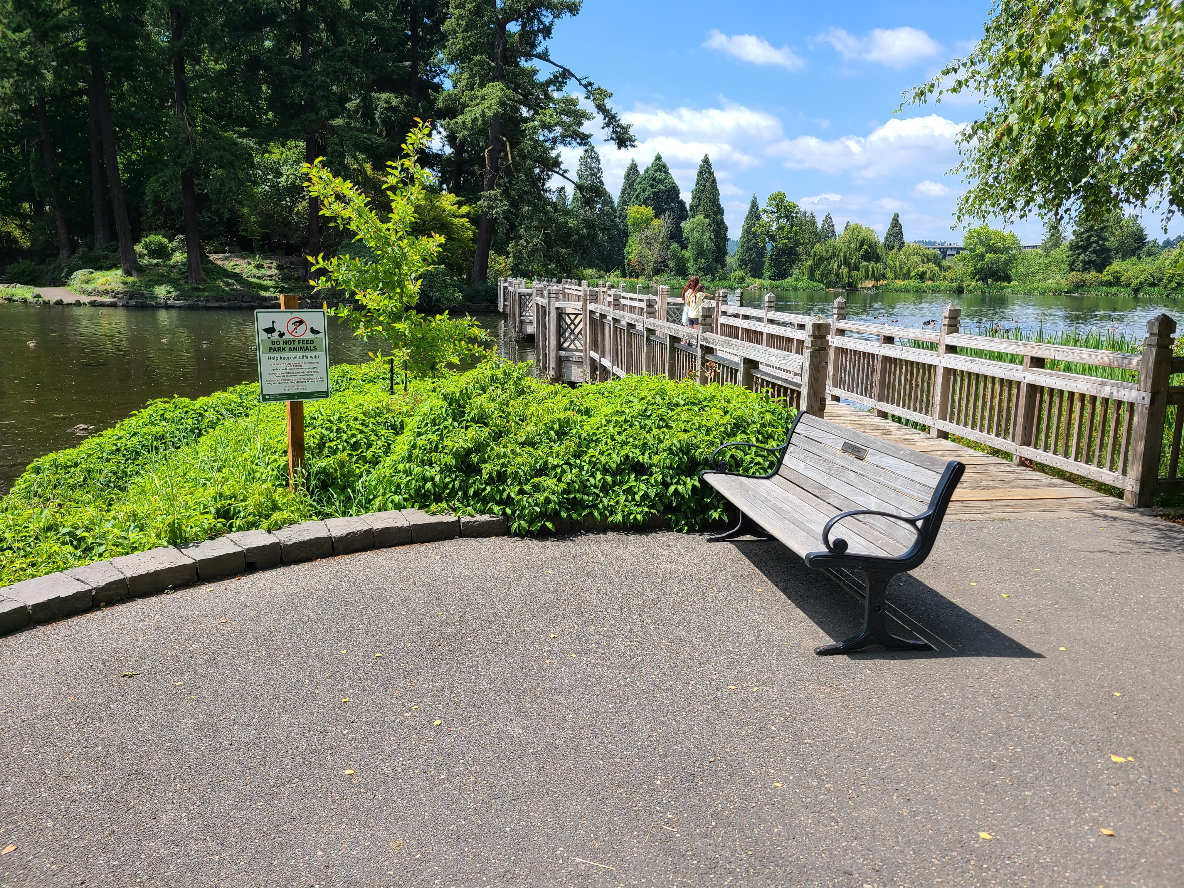 A bench on a paved area next to a bridge over a lake.