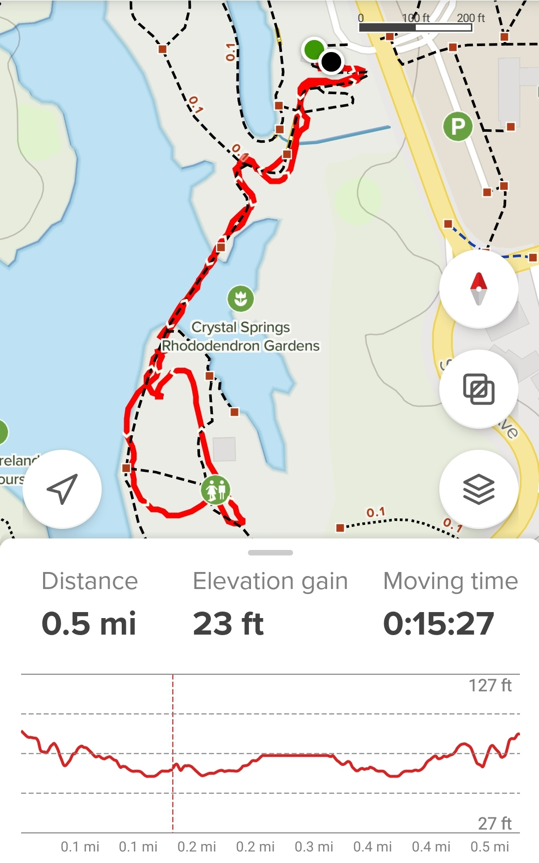Map of the garden with the main loop outlined in red. Stats read 0.5 mi, 23 ft elevation gain.